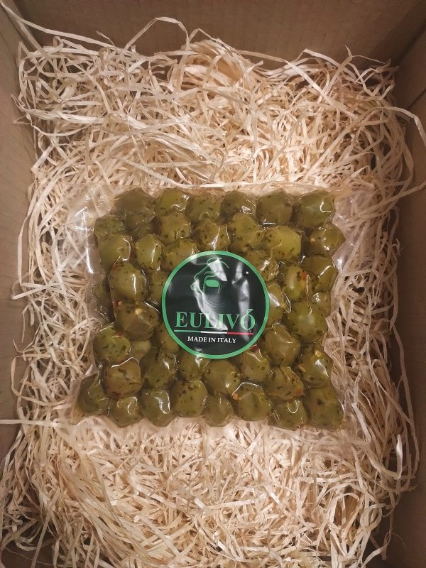 Front image of the front of the bag of Olives
